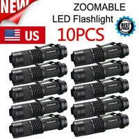 10X Tactical Mini 20000LM T6 LED Zoomable Flashlight Torch 14500 Pocket Light US