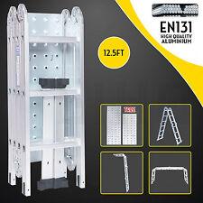12.5FT Aluminum Multi Purpose Folding Step Ladder Scaffold Extendable w/Platform
