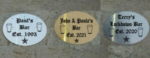 PERSONALISED METAL DOOR SIGN / PLAQUE FOR BARS ETC - ANY TEXT - 3 FINISHES