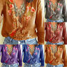 Women T-Shirt Embroidered Flowers Tee Deep V-Neck Long Sleeve Shirts Top Blouse