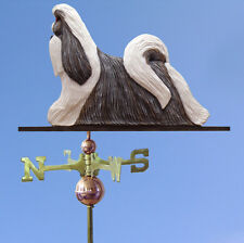 Shih Tzu Hand Carved Hand Painted Basswood Dog Weathervane Silver & White