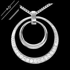 Circle Kreis Anhänger mit Kette 925 Sterling Silber Zirkonia Collier Halskette