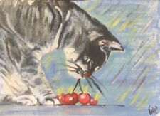 aceo Cat Cute Kitten . dipinto WATERCOLOR  & Acrylic . Fantasy!
