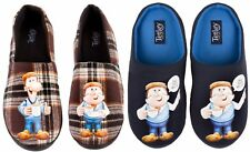 Mens TETLEY TEA Character Cushioned Sole Full /Mule Slippers Check Gaffer 7-12