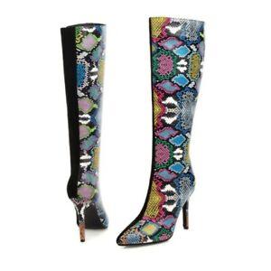 46/47/48 Women High Heel Pointy Toe Stilettos Knee High Boots T Show Nightclub L