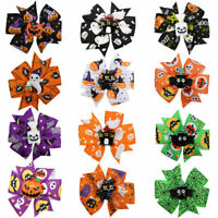 "2Pcs 3"" Halloween Funny Pinted Hair Bows with Clip Grosgrain Ribbon Hairpins"