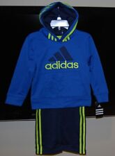 Adidas boys blue color hooded 2 piece active wear set size 2T $54 price NWT