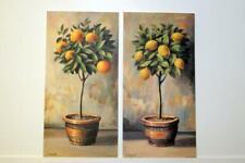 Pair of Vintage style prints of fruit trees lemons/oranges by artist M. Mascetra