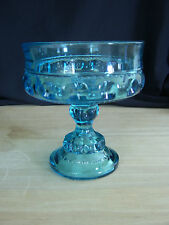 """Indiana Glass KINGS CROWN Colonial Blue Glass Compote 5 1/4"""""""