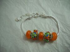 Lampwork & Silver European Style Bracelet Orange, Green & Blue NWOT