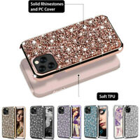 For iPhone 12 Pro Max 11 XR X 8 7 Plus Case 3D Diamond Sparkly Hybrid Case Cover
