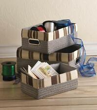 3 size set brown gray fabric lined square wicker Storage organize utility Basket