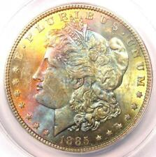 1885 Toned Morgan Silver Dollar $1 - Certified ANACS MS63 - Nice Rainbow Toning