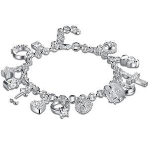"925 Sterling Silver Charm Bracelet Crystal Charms Chain Link 8"" UK Seller"