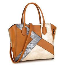 New Womens Handbag Faux Leather Satchel Tote Bag Semi Metallic Patch Large Purse