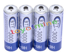 4 pcs AA BTY Rechargeable Battery 3000mAh Ni-MH 1.2V for MP3 RC Toys Camera