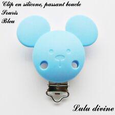 Pince / Clip en silicone, attache tétine, passant boucle, Souris : Bleu