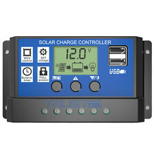 LCD 30A Solar Panel Battery Charge Controller Regulator Auto Adapt 12V/24V /USB
