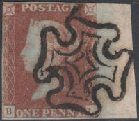 1841 SG7 1d RED BROWN - BLACK PLATE 9 LARGE SHEET MARGINAL FULL CROSS (BL)