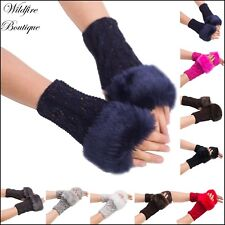 Fluffy Faux Fur Rainbow Metallic Thread Knit Ladies Mid Length Fingerless Gloves