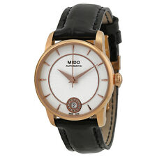 Mido Baroncelli Automatic Silver Dial Black Leather Ladies Watch M0072073603600