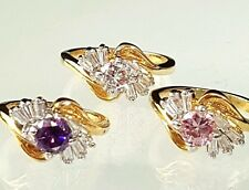 Gold Plated Birthstone  Ring  Cubic Zirconia Purple Pink Sizes 4-5-6-8-9 -11 -12