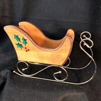 Vtg Home Interiors Wooden Brass Wrought Iron Sleigh in Original Box