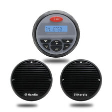 "3.5"" Gauge Marine Audio Bluetooth MP3 Stereo Radio Boat Receiver+2Pcs Speakers"