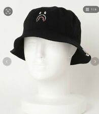 AUTHENTIC A BATHING APE BAPE ONE POINT SHARK BUCKET HAT BLACK L NEW