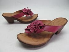 Born Pink Leather Flower Sandals Heels Thongs Women's sz 9