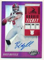 2018 PANINI CONTENDERS OPTIC PURPLE BAKER MAYFIELD RC ROOKIE AUTO # 31/49