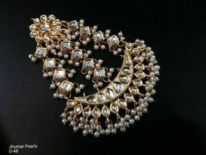 Latest Ethnic Bollywood Jewelry Gold Tone Indian Pearl Kundan Side Passa Tikka