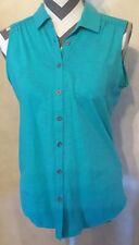 Medium North Crest Green Blue Women's Blouse Button Down Pocket Top Shirt Lace