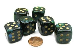 Scarab 20mm Big D6 Chessex Dice, 6 Pieces - Jade with Gold Pips
