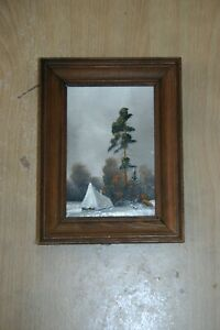 Small Framed Painting on Cardboard of a Winter Scene