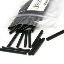 Lot of 20 Opaque Jet Black Czech Glass 1 inch (25mm) Long Bugle Tube Loose Beads
