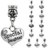 Heart Family Name Charm Bead European Bracelets Daughter  Mother Sister Grandma