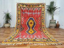 Moroccan Handmade Wool Carpet 3'7x7'6  Bohimean Berber Carpet Red Green Area Rug