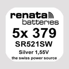 5x Renata 379 Uhren-Batterie Knopfzelle SR521SW AG0 1,55V Silberoxid Neu