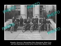 OLD LARGE HISTORIC PHOTO OF MEMPHIS TENNESSEE THE POLICE MOTORCYCLE SQUAD c1920
