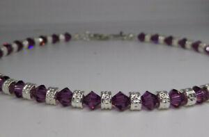 Swarovski Crystal Amethyst Bicone & Silver Rondel Bead Anklet or Bracelet; Steel