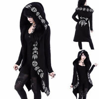 Punk Rave Hooded Cloak Cardigan Womens Black Gothic Hoodie Jacket Witch  Outwear e2cac177c0de
