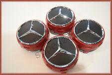 4 PC SET Mercedes Benz Wheel Raised Center Caps Ember Red + Black Hubcaps 75MM