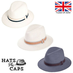 Linen Summer Fedora Elegant Cotton Sun Hat Wide Brim Trilby