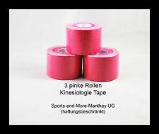 3 pinke Rollen Kinesiologie Tape 5 cm x 5 m Pink Physio Sport