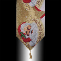 CHIC TAPESTRY CHRISTMAS SANTA CLAUS TASSEL WEDDING PARTY BED TABLE RUNNER CLOTH