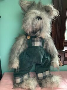 Connor Ganz Cottage Collectibles shaggy gray plush Dog in overalls NWT