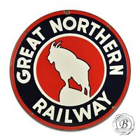 Great Northern Railway Mountain Goat Reproduction Circle Aluminum Sign