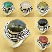 925 Silver Plated Blue Fire LABRADORITE & Other Natural Gemstone Variation Ring
