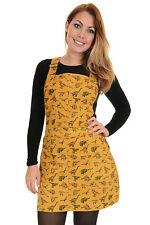 5bfb79fb43 Ladies Run   Fly Retro Honey Gold Stretch Twill Dinosaur Print Pinafore  Dress